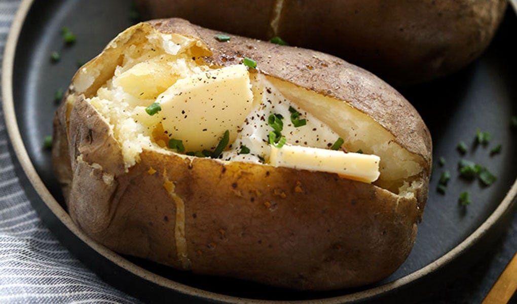 Baked potato on a plate