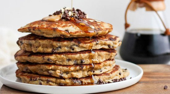 chocolate chip pancakes stacked 5 high