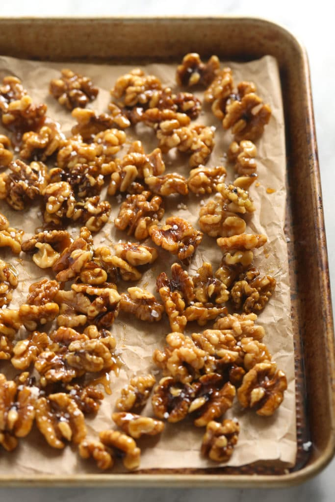 candied walnuts on sheet pan