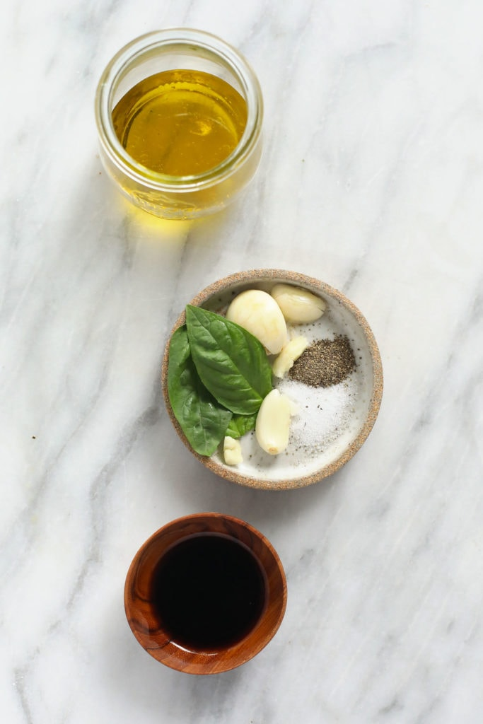 Marinade ingredients in small dishes.
