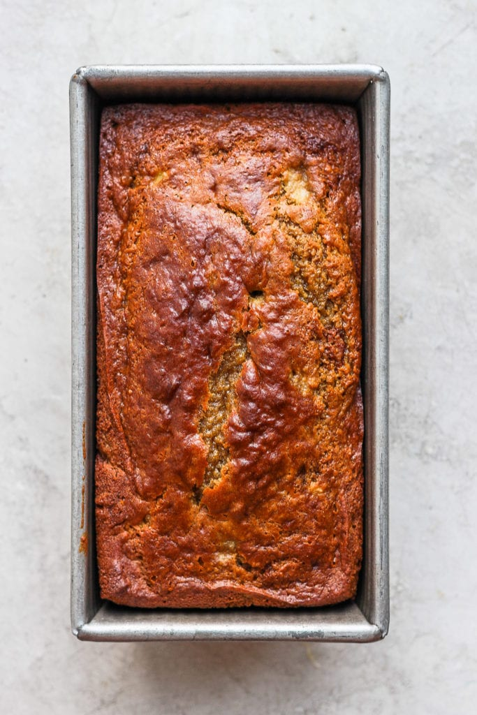 banana bread in loaf pan