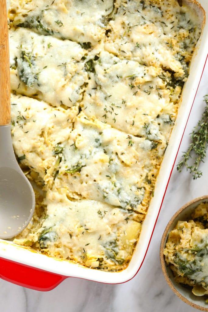 Baked spinach artichoke quinoa casserole.