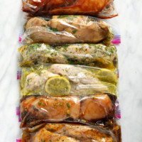 6 chicken marinades in plastic bags