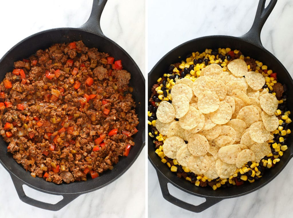 easy taco casserole ingredients in a cast iron skillet ready to be baked