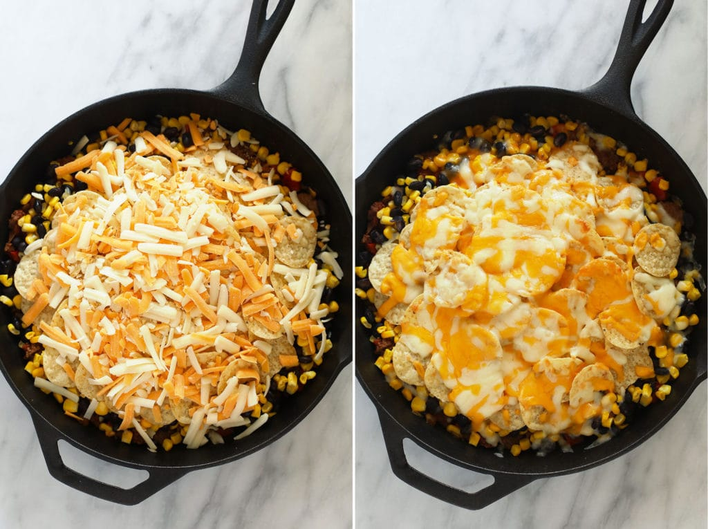 easy taco casserole topped with shredded cheese before and after being baked