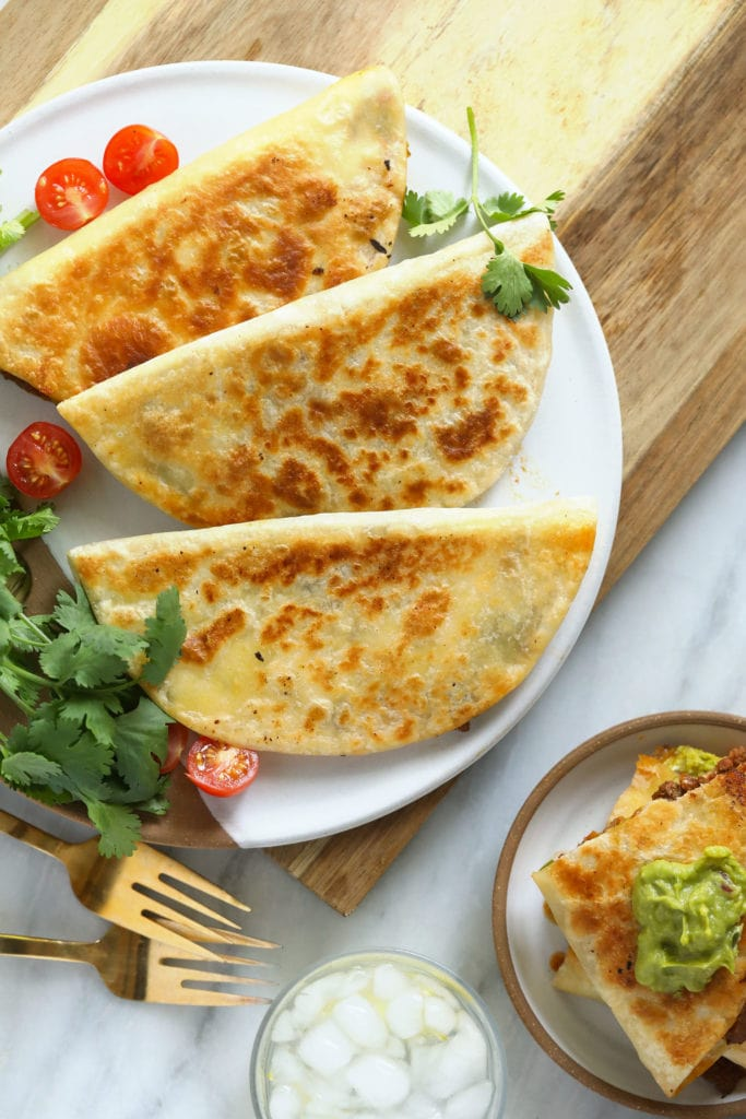 chicken quesadillas on a plate ready to be served