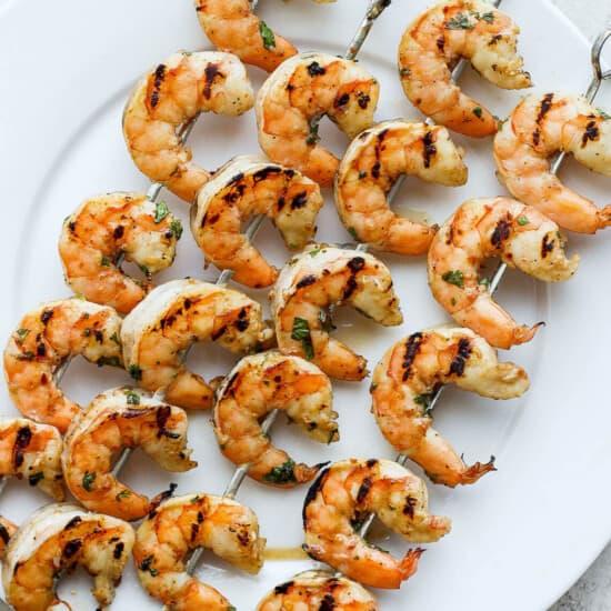 shrimp skewers on plate