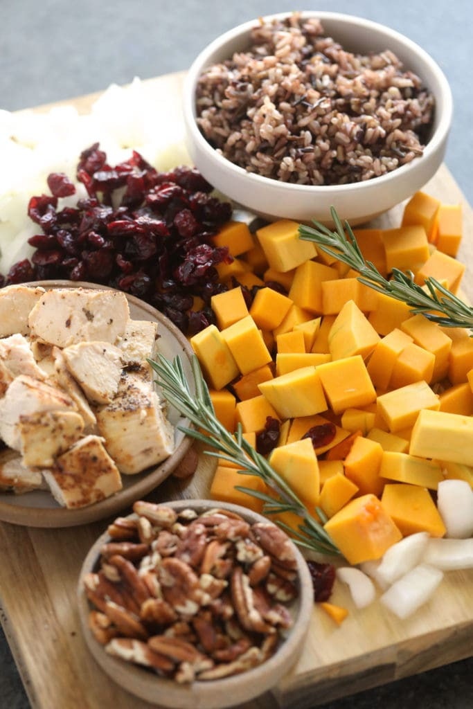 ingredients for butternut squash wild rice casserole ready to be mixed