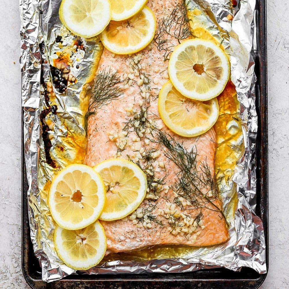 baked salmon in baking sheet
