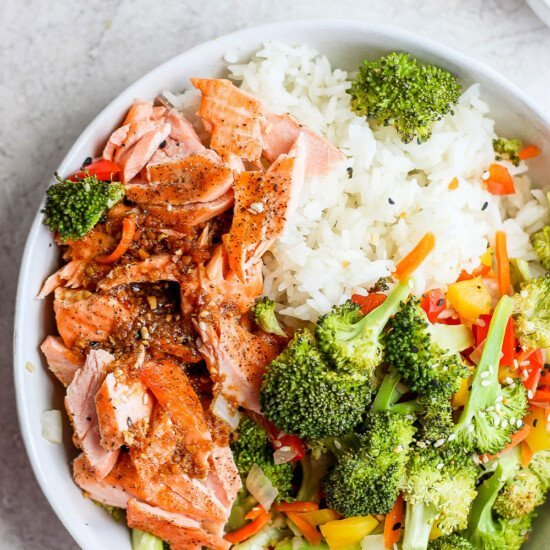 sheet pan salmon stir fry in a bowl