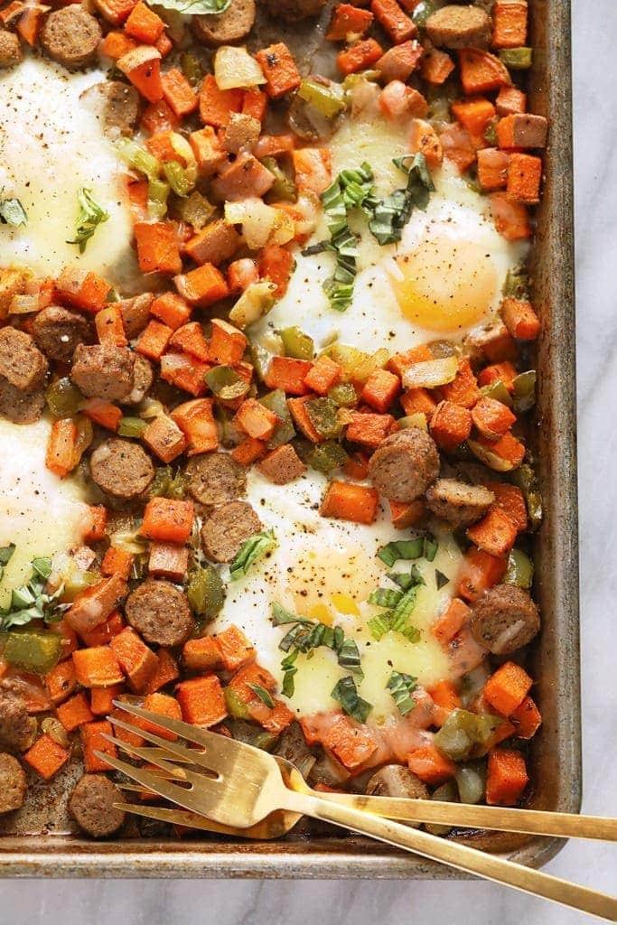 sheet pan sweet potato hash ready to be enjoyed