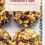 Zucchini oatmeal cups on a cooling rack