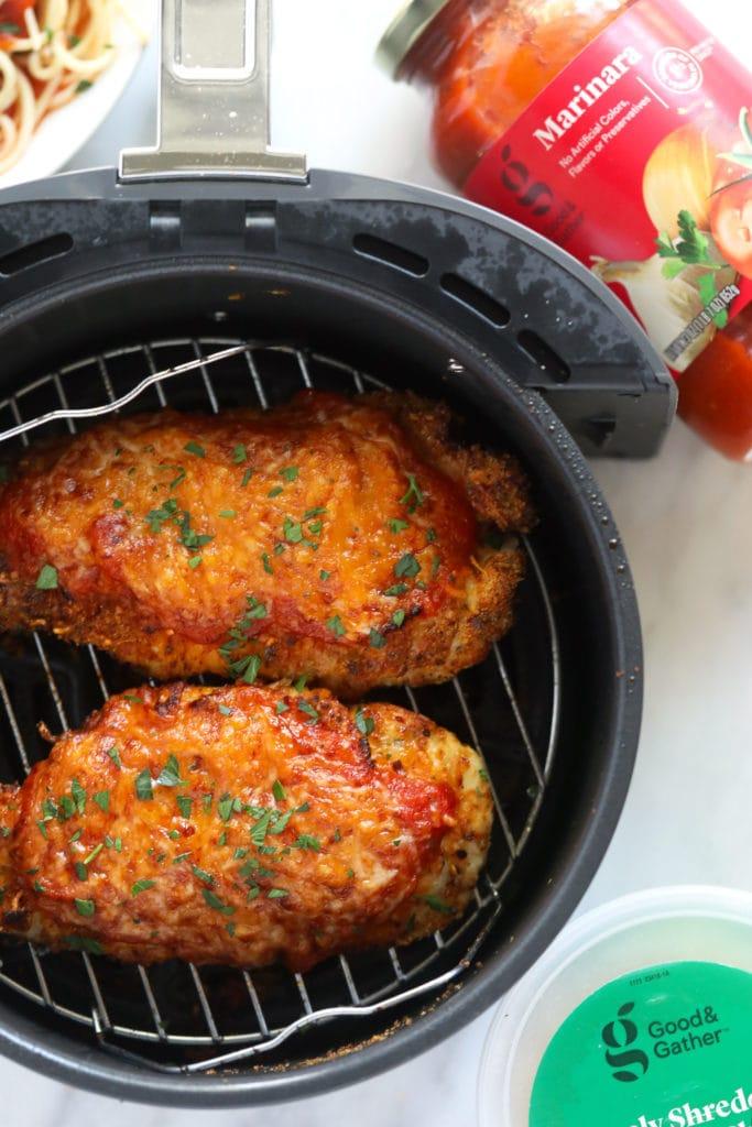 chicken parmesan in air fryer basket