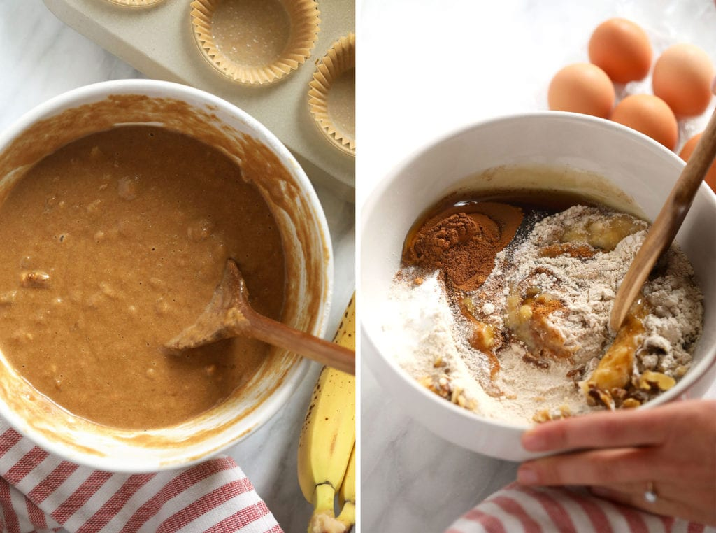 Banana nut muffin ingredients in a bowl.