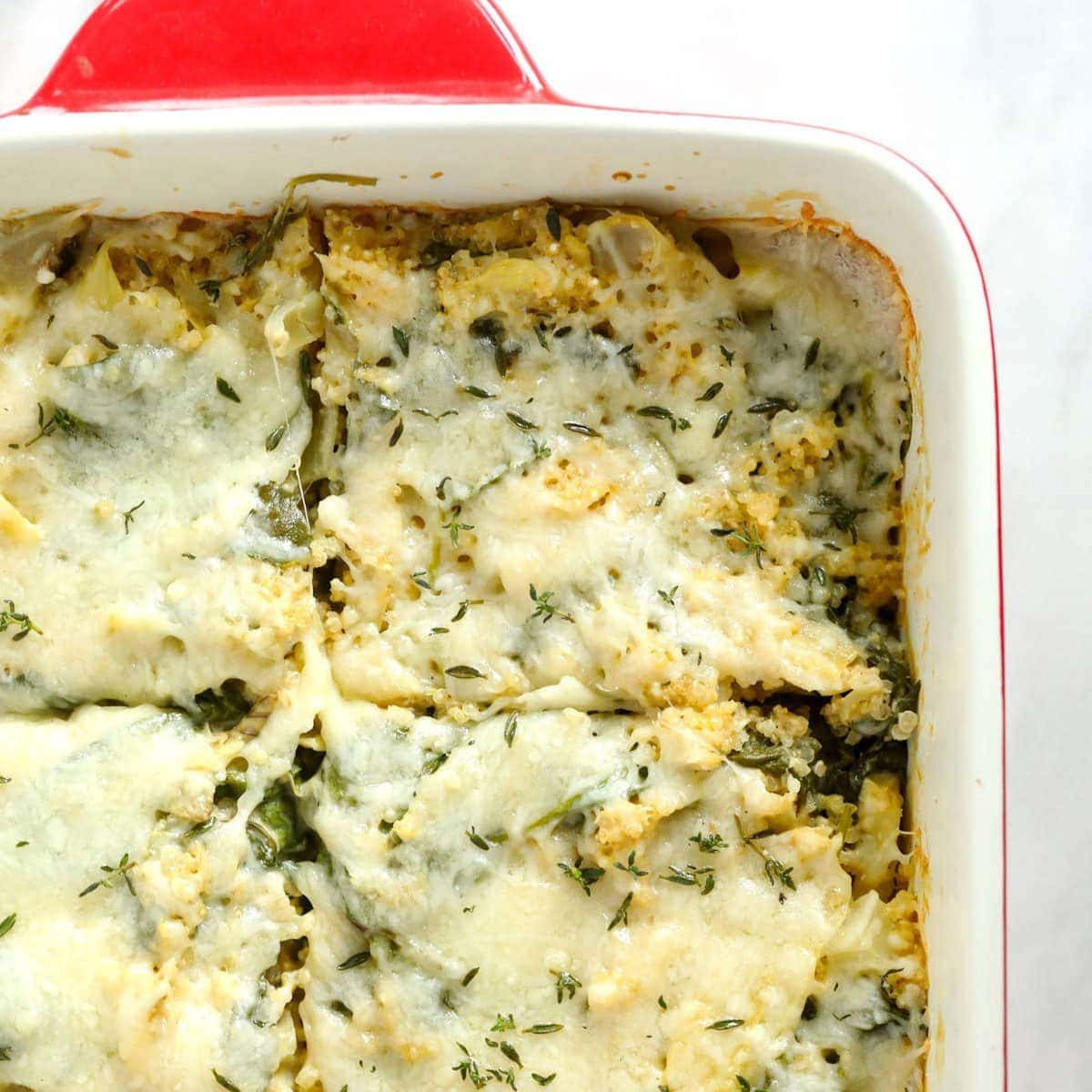 Spinach Artichoke Quinoa Casserole (19g of protein) – Fit Foodie Finds