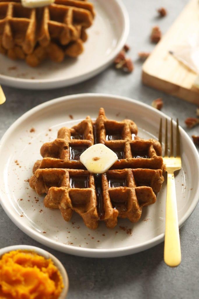 gluten free waffle on plate