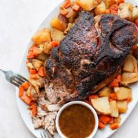 oven baked pork roast on a platter