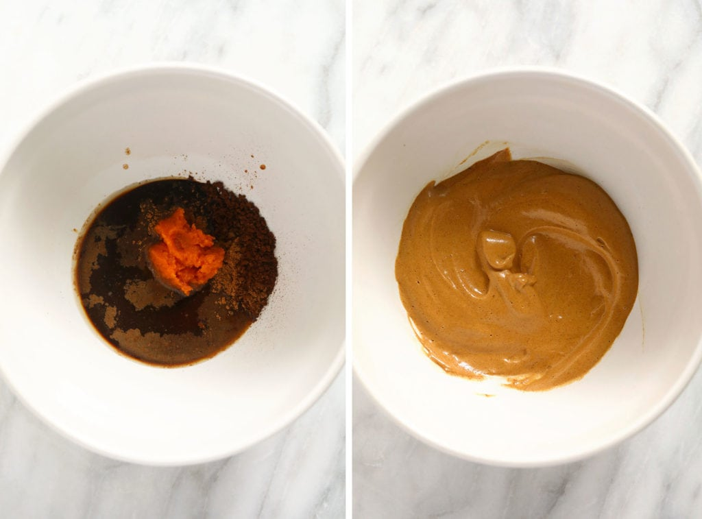 Before and after photos of pumpkin spice dalgona coffee.
