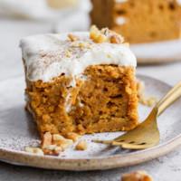 slice of pumpkin sheet cake on a plate
