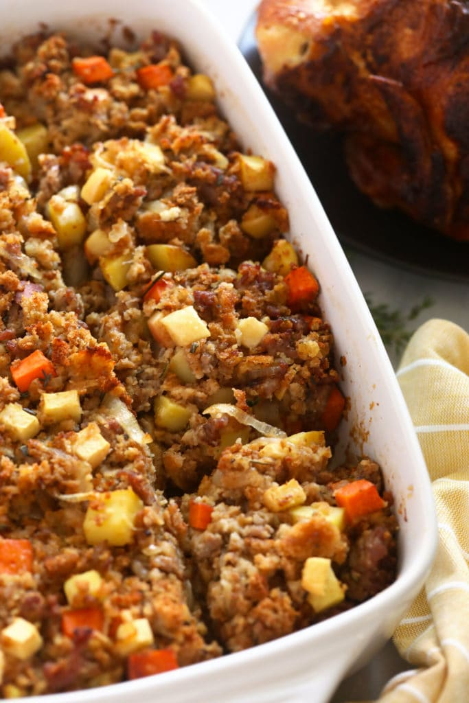 sausage stuffing after being baked in a casserole dish