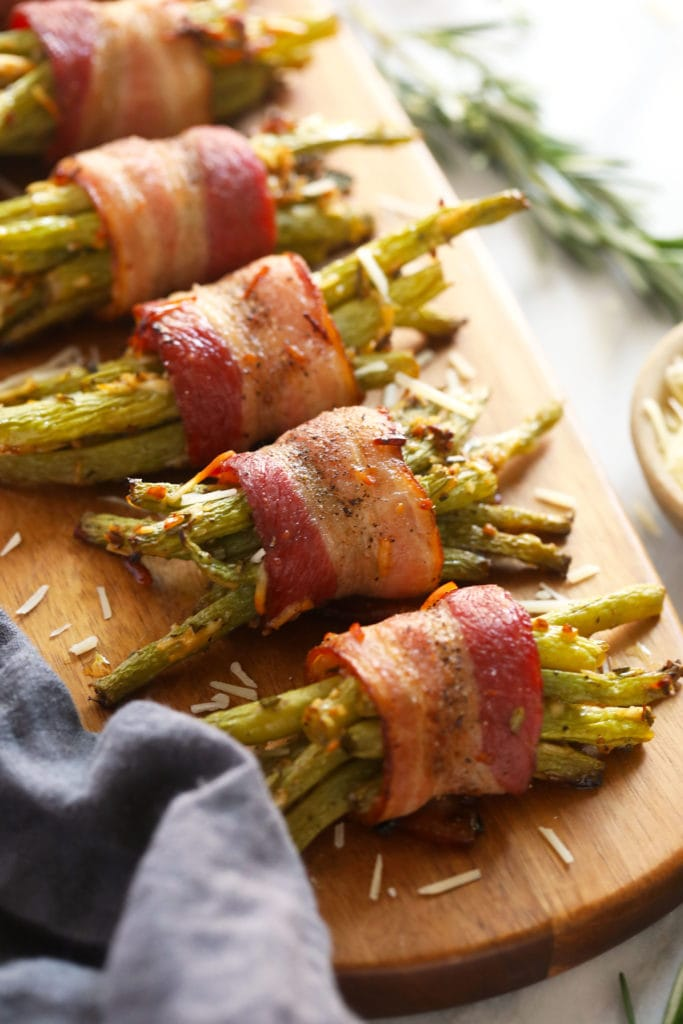 bacon wrapped green beans ready to be served