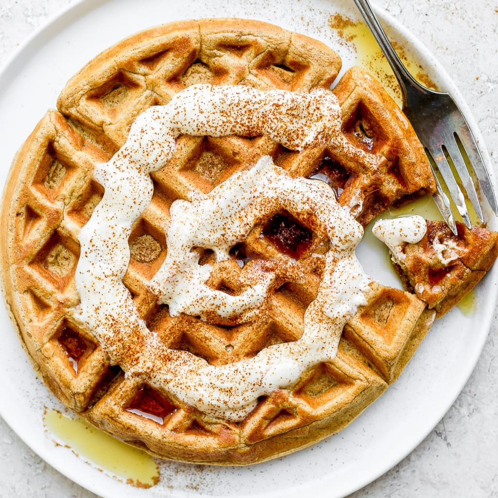cinnamon roll waffle on a plate