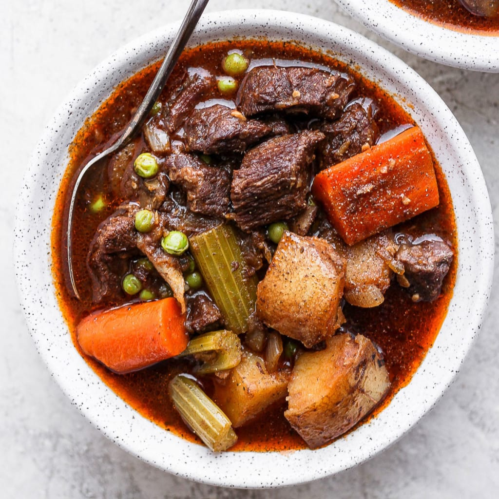 instant pot beef stew in a bowl