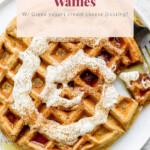 cinnamon roll waffles on a plate