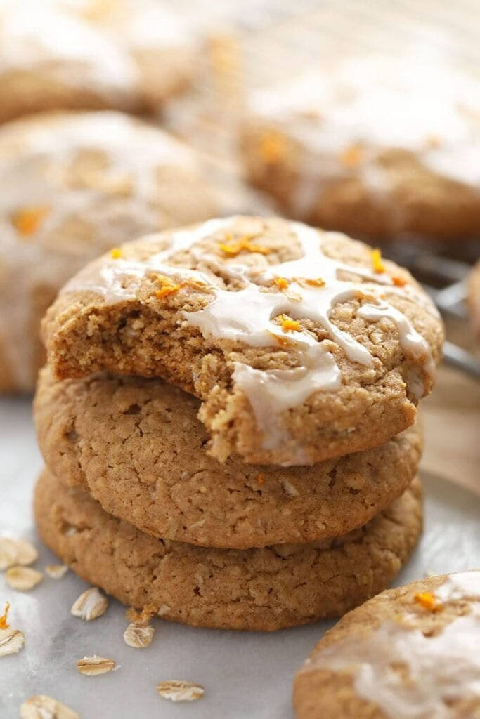 iced oatmeal cookie in drying rack