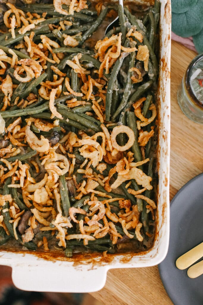 green bean casserole on table