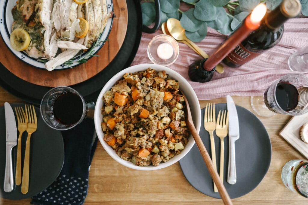 stuffing in bowl