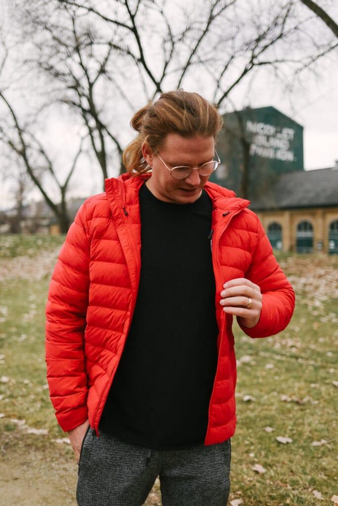 cole wearing a lululemon puffy jacket