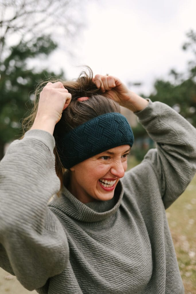 linley wearing a lululemon cold weather headband