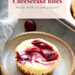 Cranberry Swirl Greek Yogurt Cheesecake Bites