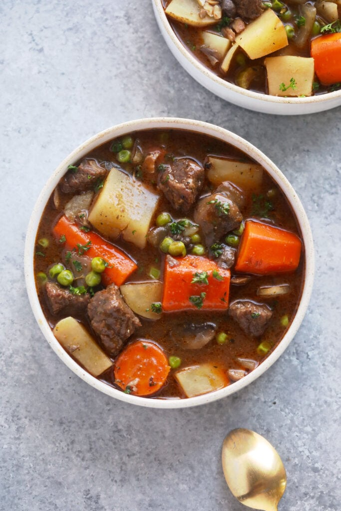 slow cooker beef stew in a bowl ready to be served