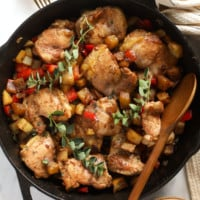 Fry chicken and potatoes