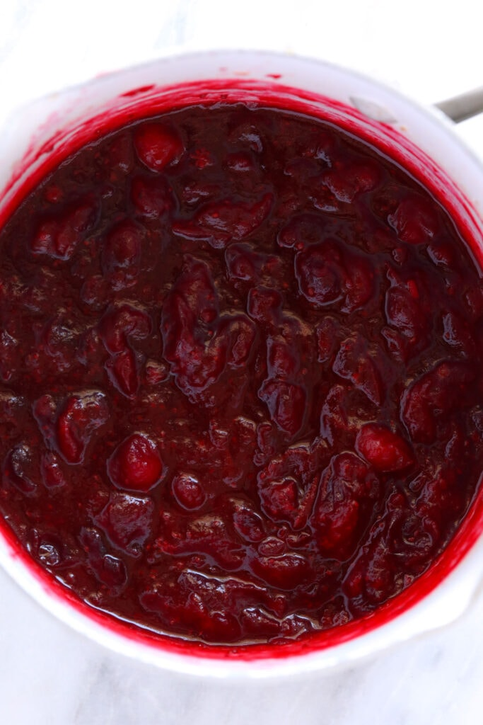 cooked cranberry sauce in pot