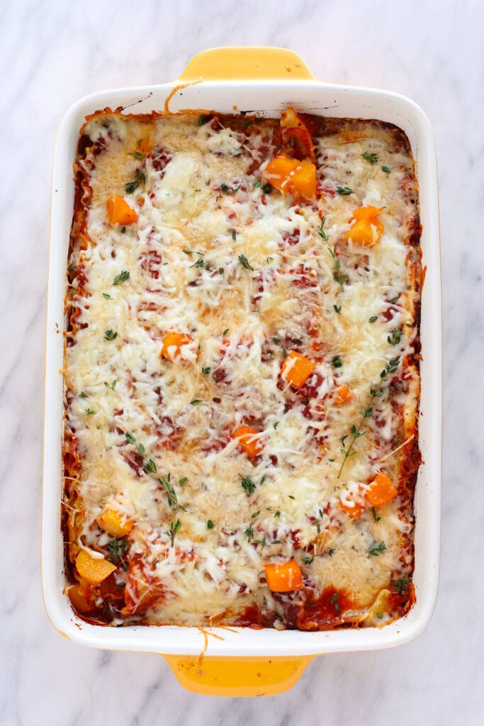 Butternut Squash lasagna in a pan.