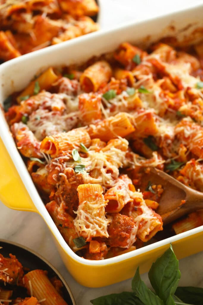 chicken parmesan in casserole dish