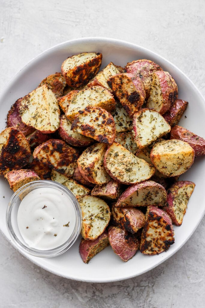 ranch roasted potatoes in a bowl ready to be served