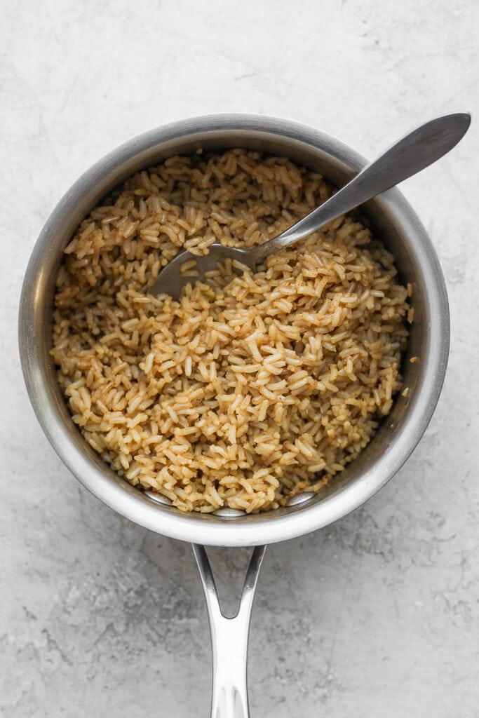 brown rice in a stock pot