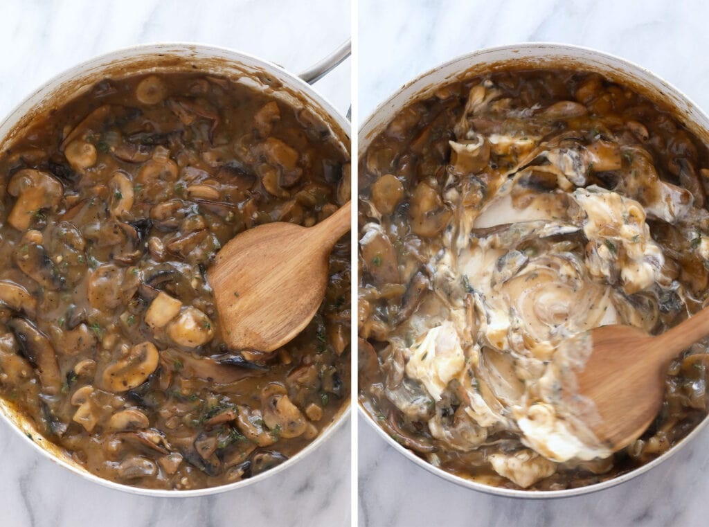 Stirring Greek yogurt into mushroom stroganoff sauce.