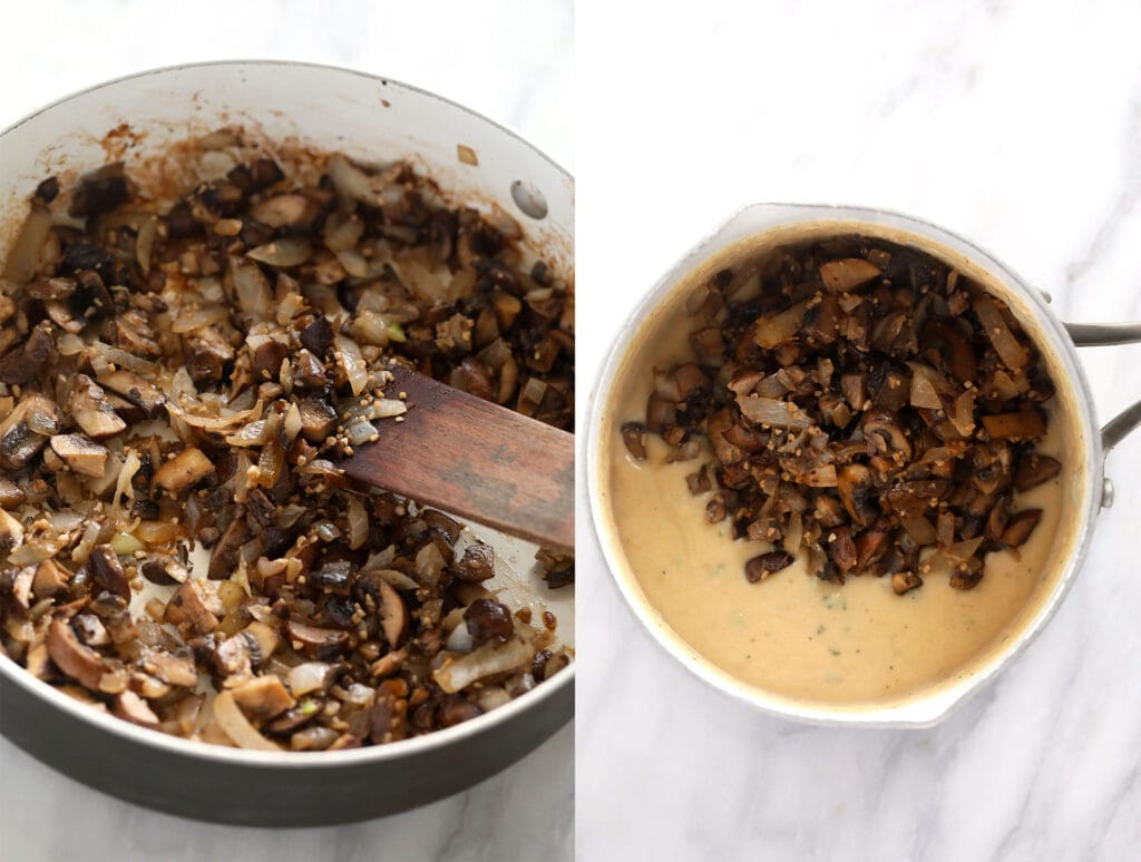 making mushroom sauce in pot