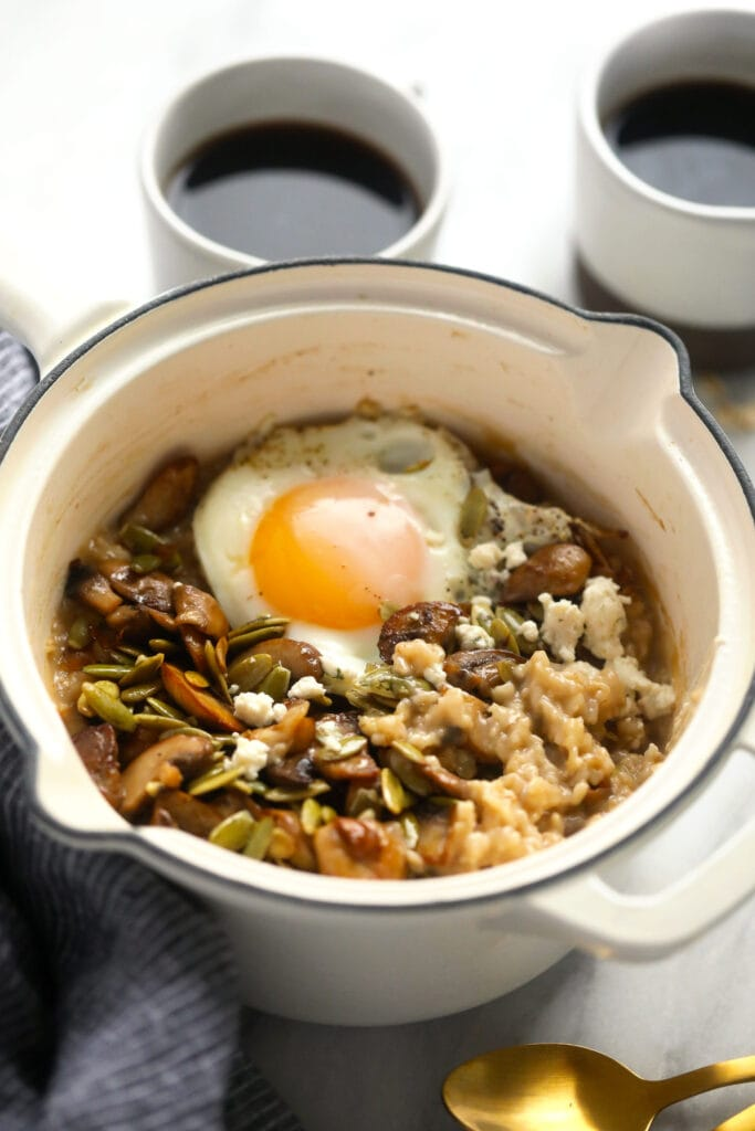 Savory oatmeal with an egg on top.