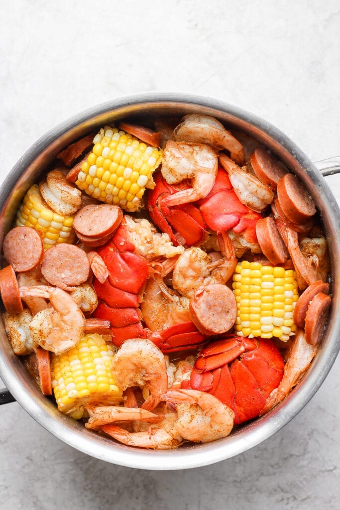 easy seafood boil cooked to perfection in a stock pot