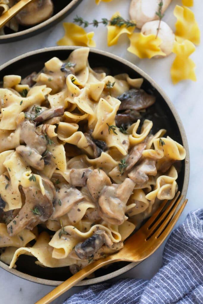Mushroom stroganoff on a plate.