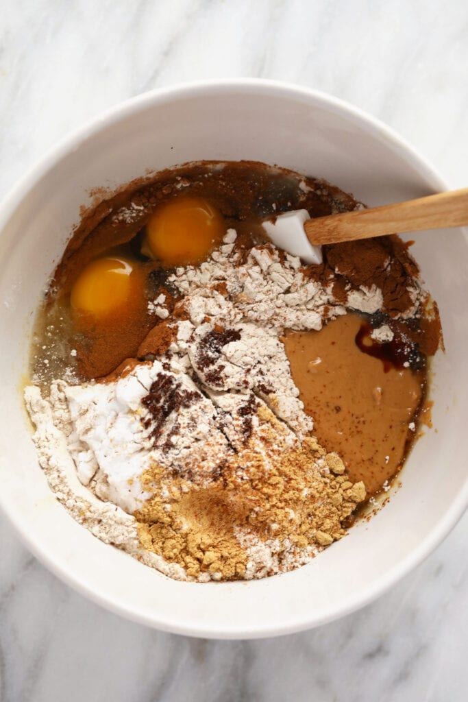 gingerbread cookie bar ingredients in a bowl