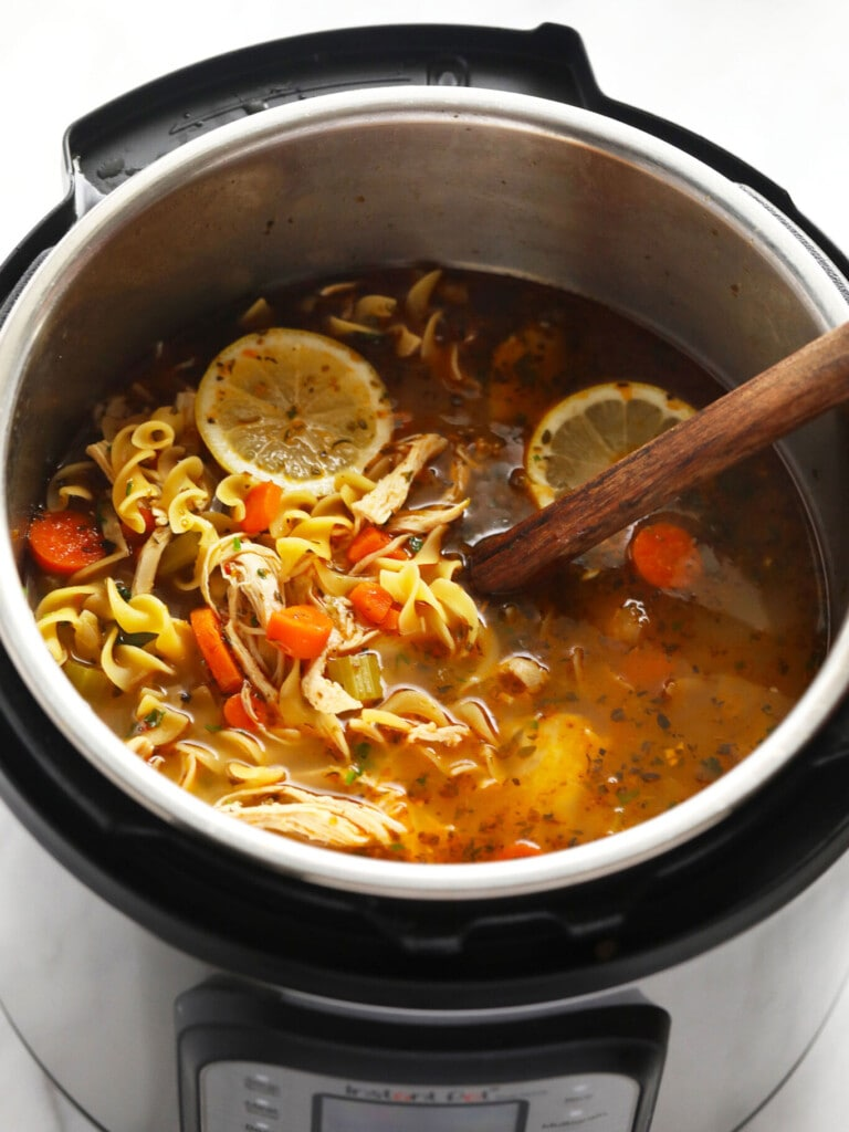Instant Pot chicken noodle soup in instant pot