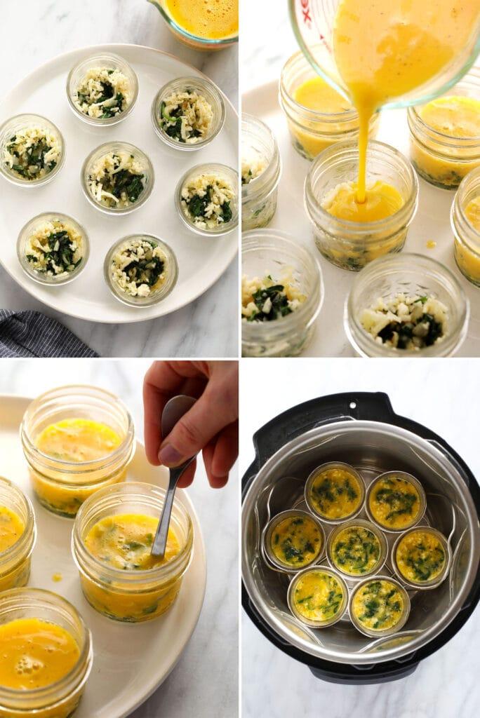 How to make Instant Pot egg bites in glass jars.