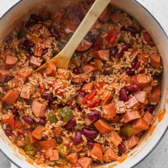 red beans and rice in a dutch oven
